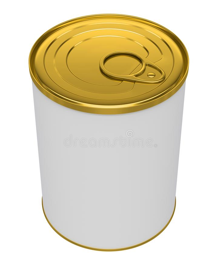 Metallo in bianco bianco Tin Can, alimento inscatolato del barattolo di latta Ready per il vostro disegno Percorso di ritaglio Is royalty illustrazione gratis