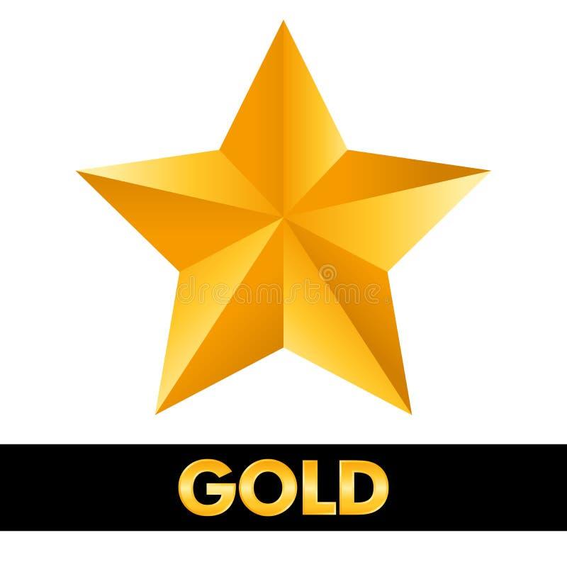 Metallo brillante della stella d'oro 3d isolato su fondo bianco illustrazione di stock