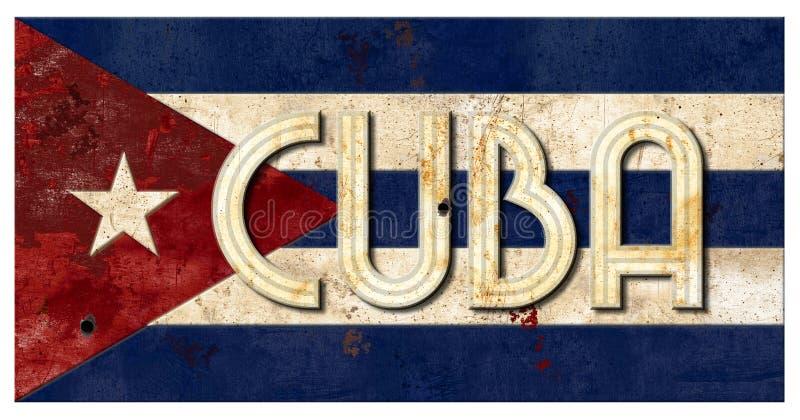 Metallo cubano vecchio Vingage rustico dell'iscrizione di Cuba di lerciume della bandiera fotografie stock libere da diritti
