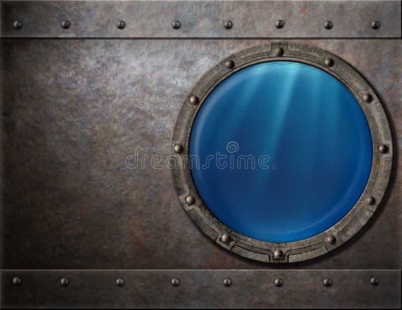 Metallo di punk del vapore dell'oblò della nave da guerra o del sottomarino immagine stock libera da diritti