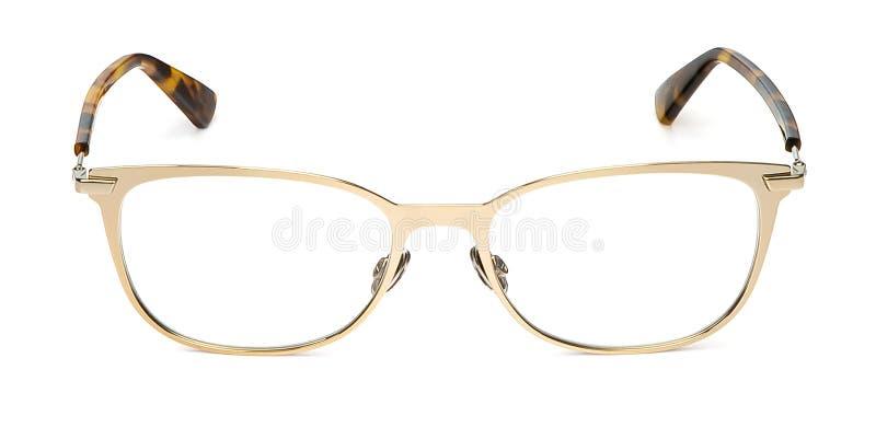 Metallo di vetro nel telaio rettangolare trasparente per la lettura o la vista buona dell'occhio, vista frontale isolato su fondo immagini stock libere da diritti