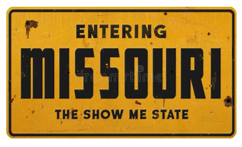 Metallo entrante di lerciume del segno del Missouri Mo la manifestazione me stato immagini stock libere da diritti