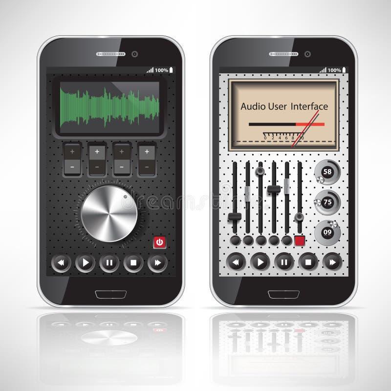 Metallo mobile di applicazione di due UI, Smartphone illustrazione vettoriale