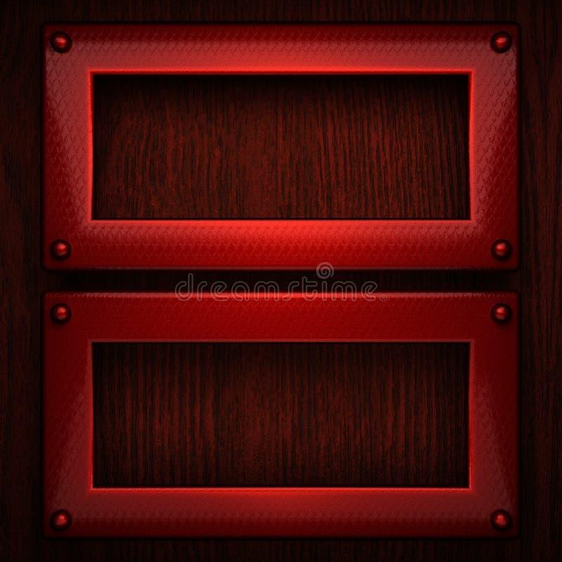 Metallo pollished rosso su bachkround di legno fotografia stock libera da diritti