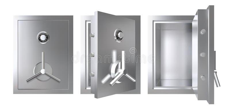 Metallo realistico sicuro con aperto ed a porta chiusa Illustrazione corazzata di vettore della scatola illustrazione di stock