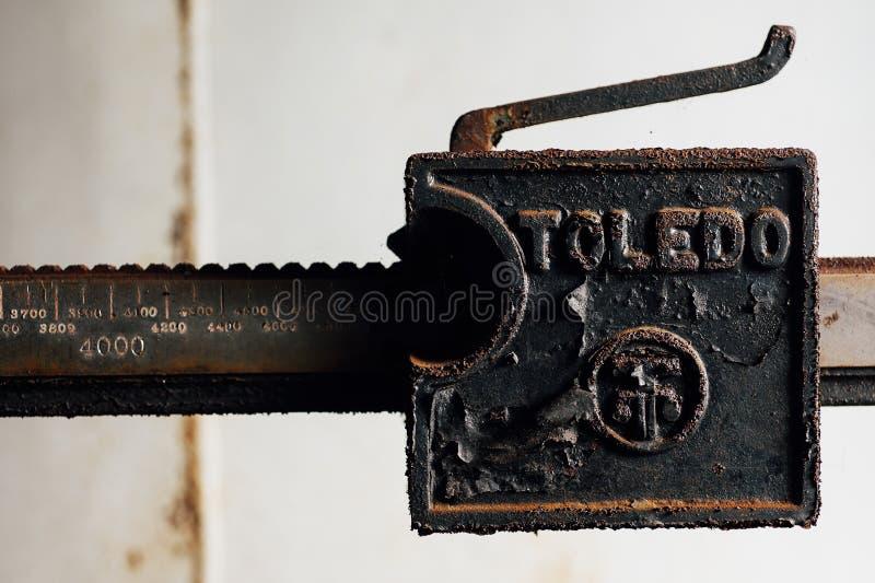 Metallo Toledo Scale Detail - Etere-miscela abbandonata Indiana Army Ammunition Depot - Indiana abbandonate di casa fotografia stock libera da diritti