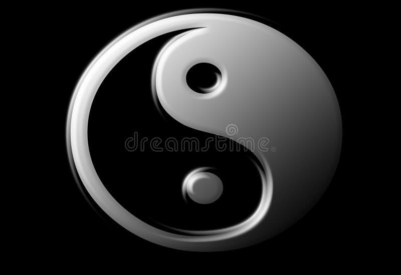 metallook符号ying的杨 免版税图库摄影
