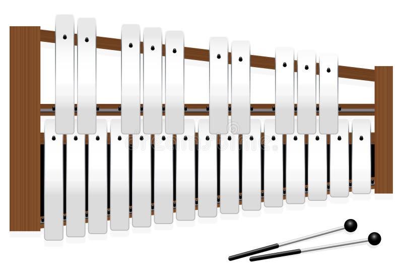 Metallophone Halftones Metal Bars Three Octaves. Metallophone with metal bars - top view - three octaves in c major with fifteen whole tones and ten halftones vector illustration