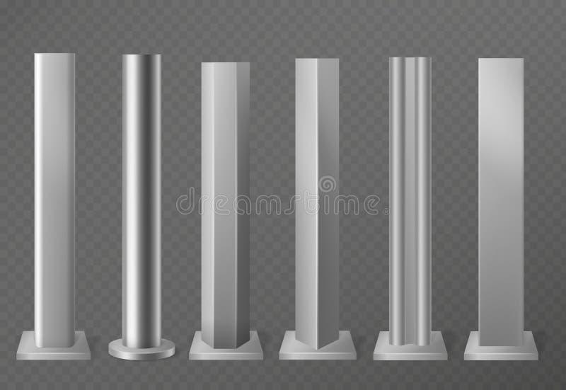 Metallpfosten Metallische Säulen für städtisches Werbeschild und Anschlagtafel Polnische Stahlspalten in den verschiedenen Abschn stock abbildung