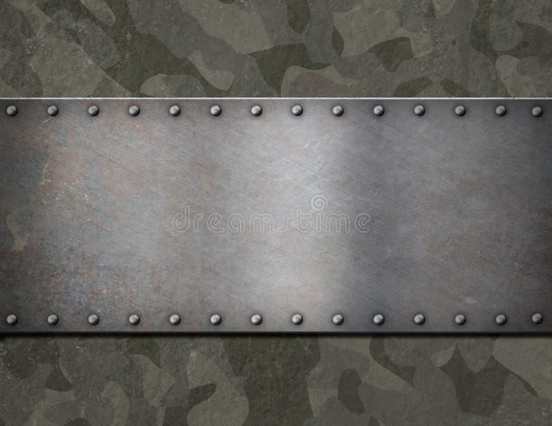 Metallplatta över militär illustration för kamouflageharnesk 3d royaltyfri illustrationer
