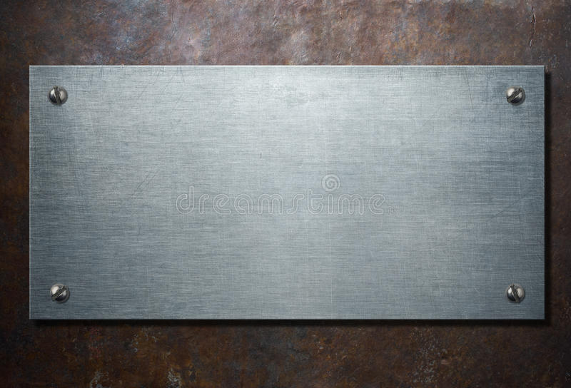Metallplatta på lantlig illustration för bakgrund 3d arkivbilder