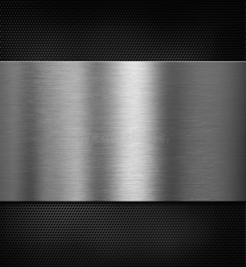 Metallplatte über schwarzer Illustration des Gitters 3d lizenzfreies stockfoto