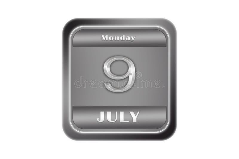 Metallplatte mit Datum am 9. Juli, Montag lizenzfreie abbildung