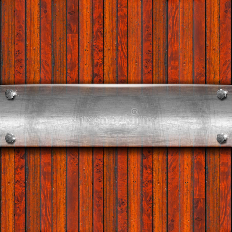 Metallplatten auf hölzernem Hintergrund lizenzfreie abbildung