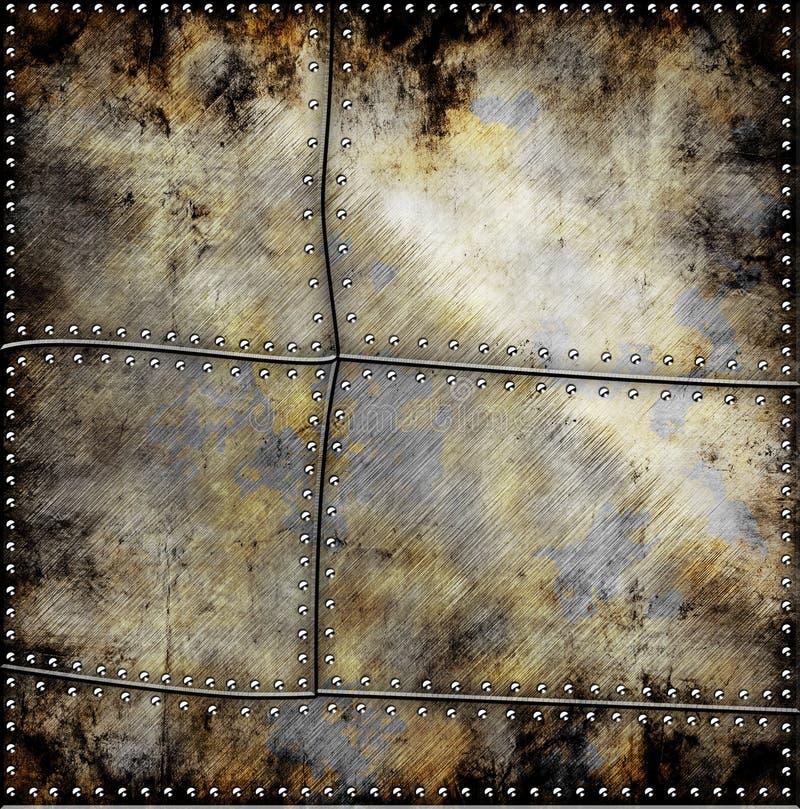 Metallplatten mit Schrauben stockbilder