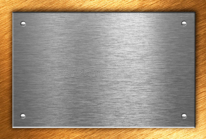 Metallplatten mit vier Nieten über Bronze stockbild