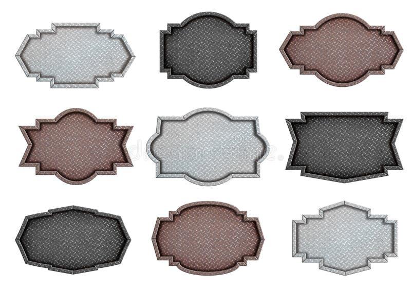 Metallplattenzeichendesign mit Diamantmuster-Beschaffenheitshintergrund vektor abbildung