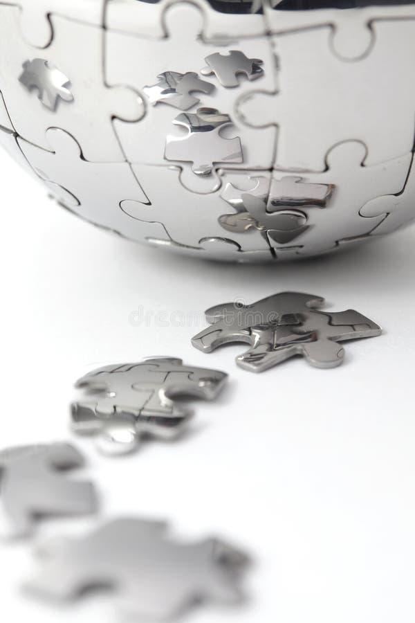 Metallpuzzlespiel-Kugelnahaufnahme lizenzfreies stockbild