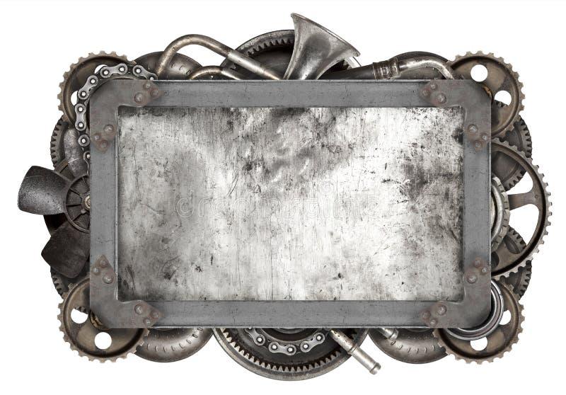 Metallram och gammal auto reservdelbil royaltyfri bild