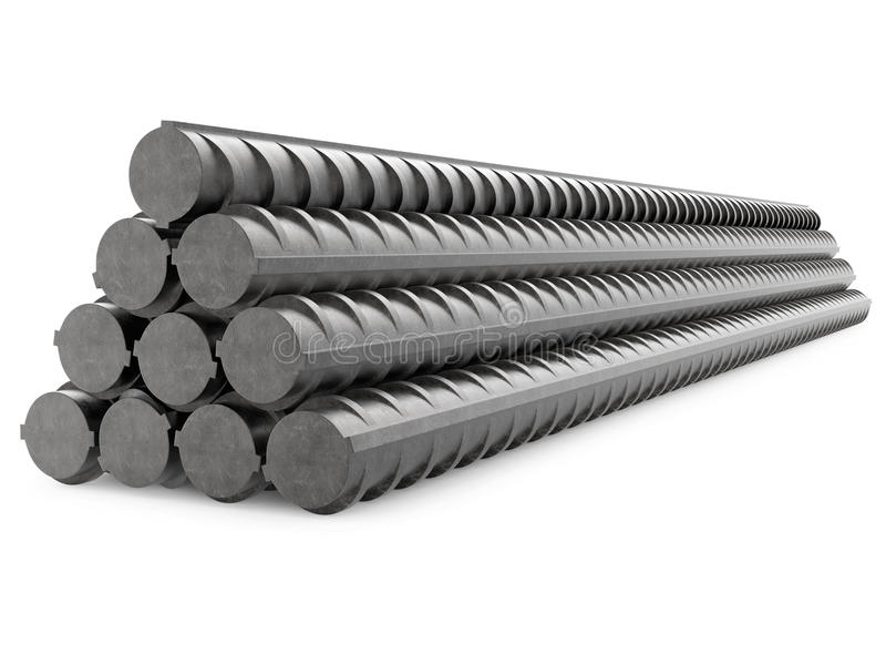 MetallRebars, förstärkningstål som isoleras på royaltyfria foton