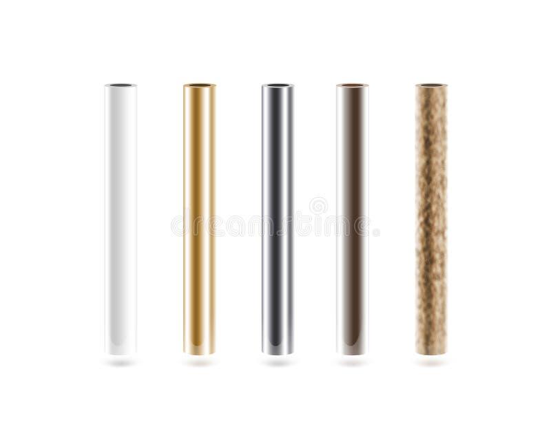Metallrohre eingestellt lokalisiert auf Weiß lizenzfreies stockfoto