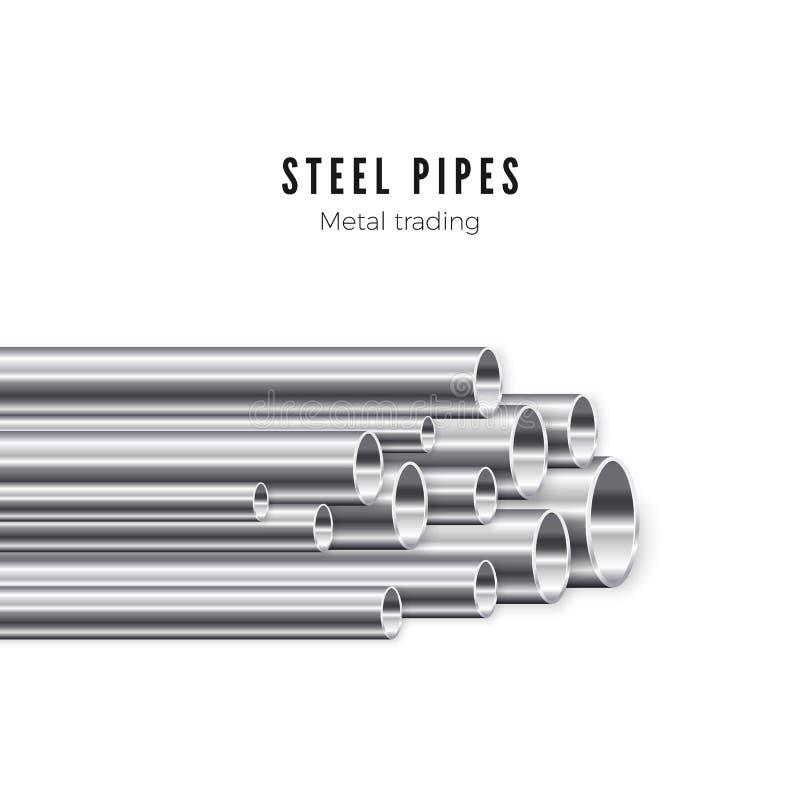 Metallrohrstapel Fahnenschablone der Rohrproduktion Vektorabbildung getrennt auf wei?em Hintergrund vektor abbildung
