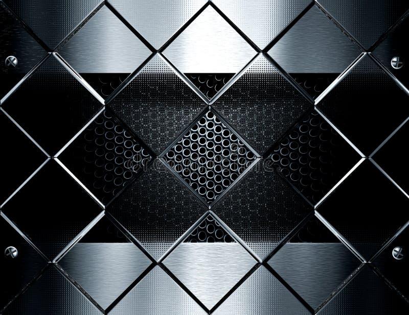 Metallschablonenhintergrund gegen Glaswürfel lizenzfreies stockbild