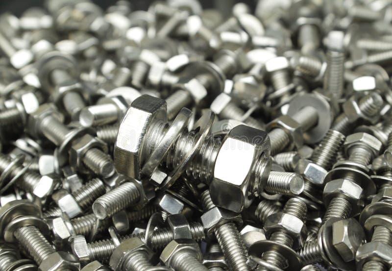 Metallschraube und -muttern lizenzfreies stockfoto