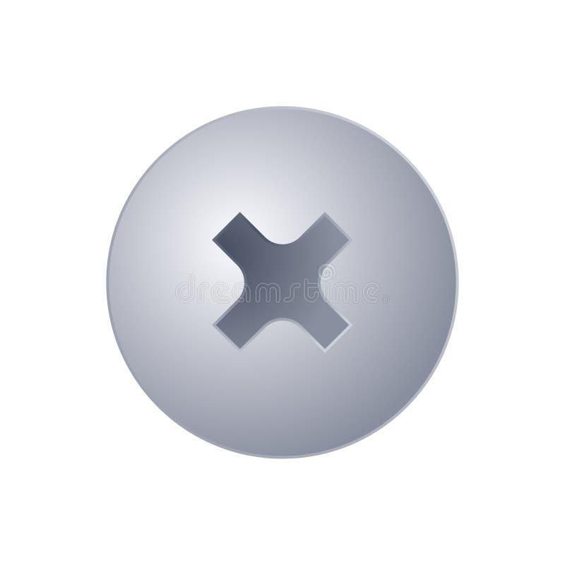 Metallschraubenkopfansicht von der Spitze lizenzfreie abbildung