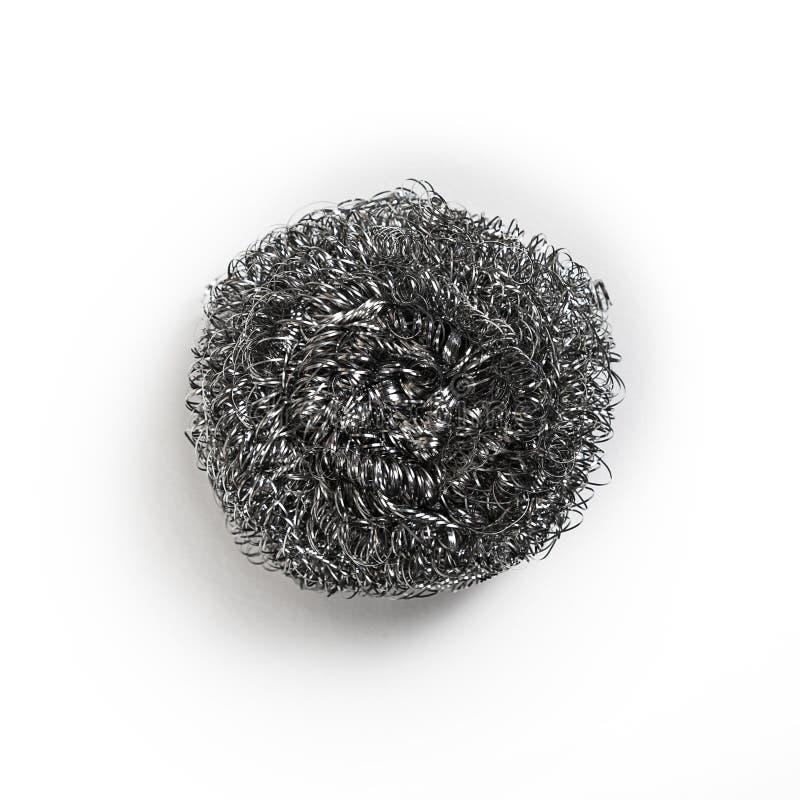 Metallschwamm für die Reinigungs- und waschenden Teller lizenzfreies stockbild