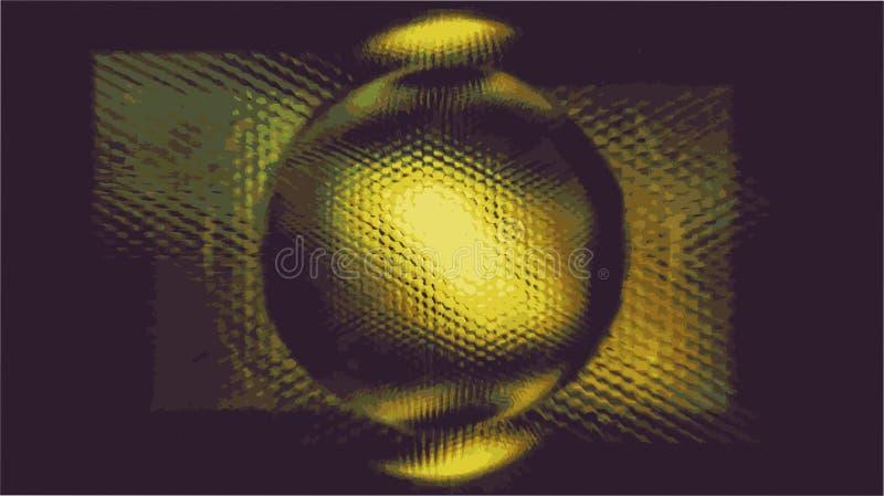 Metallsfären splittrar upp och ner i PIXEL royaltyfri illustrationer