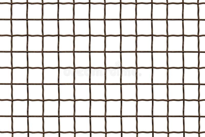 Metallskyddsgaller Tr?dstaket som isoleras p? vit bakgrund St?ls?tta, stryka, metallingreppet p? en vit bakgrund, en fyrkantig ce royaltyfria foton