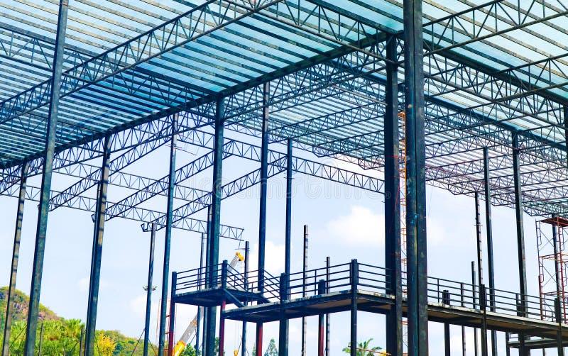 Metallstahl- und Aluminiumrahmenkonstruktion f?r Fabrik- und Lagerbaugewerbe stockbild