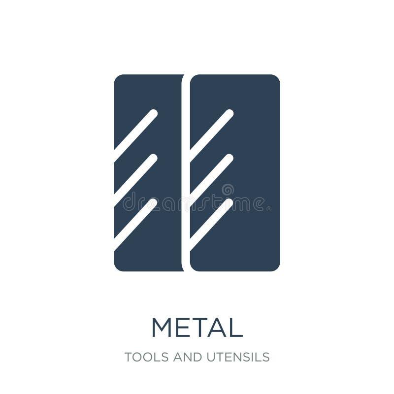 metallsymbol i moderiktig designstil metallsymbol som isoleras på vit bakgrund enkelt och modernt plant symbol för metallvektorsy stock illustrationer