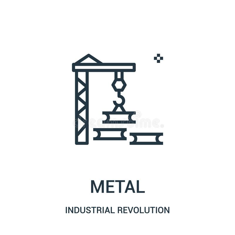 metallsymbolsvektor från samling för industriell revolution Tunn linje illustration för vektor för metallöversiktssymbol vektor illustrationer