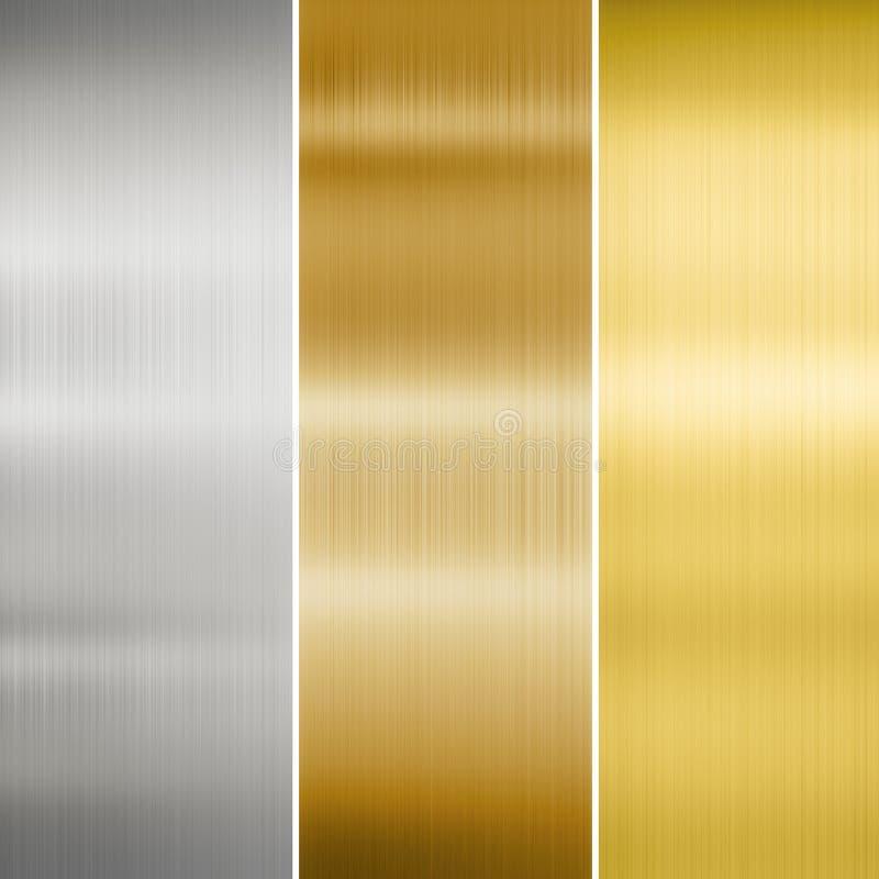Metalltexturguld, silver och brons royaltyfri bild