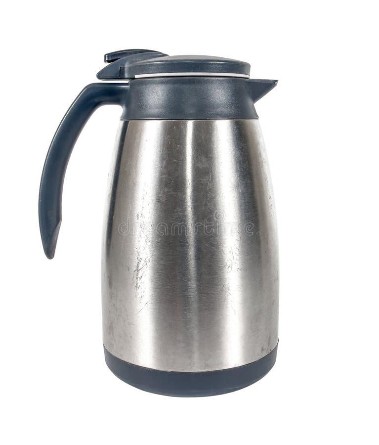 Metallthermosflasche für Bewahrung der heißen oder kalten Flüssigkeit auf einem weißen Hintergrund lizenzfreies stockbild