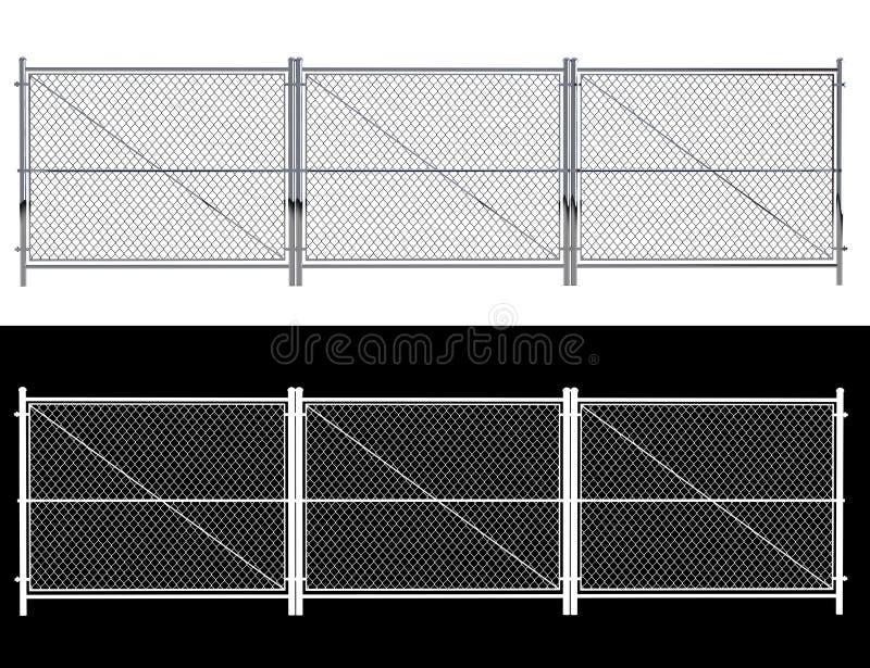 Metalltrådstaketet - isolerade a-trådstaketet som isolerades på vit 3D r vektor illustrationer