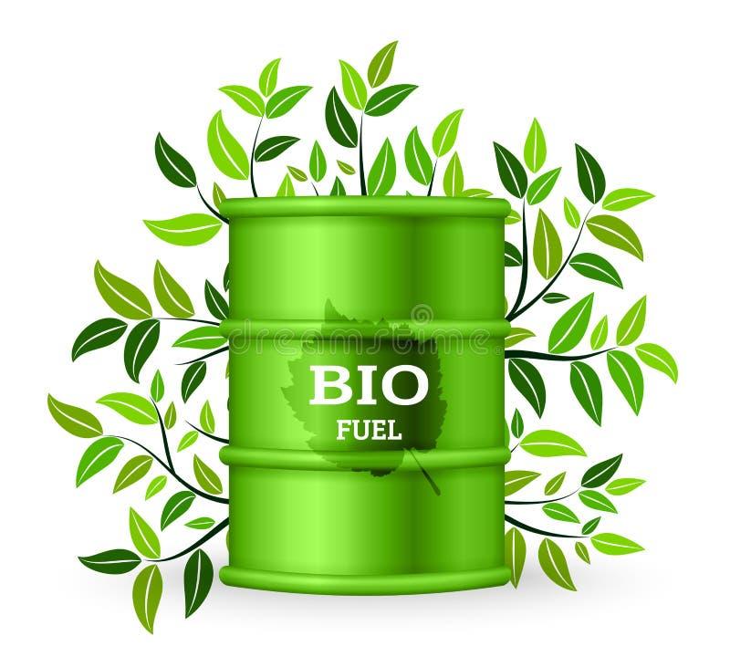 Metalltrumma med bio bränsle och det gröna trädet också vektor för coreldrawillustration vektor illustrationer