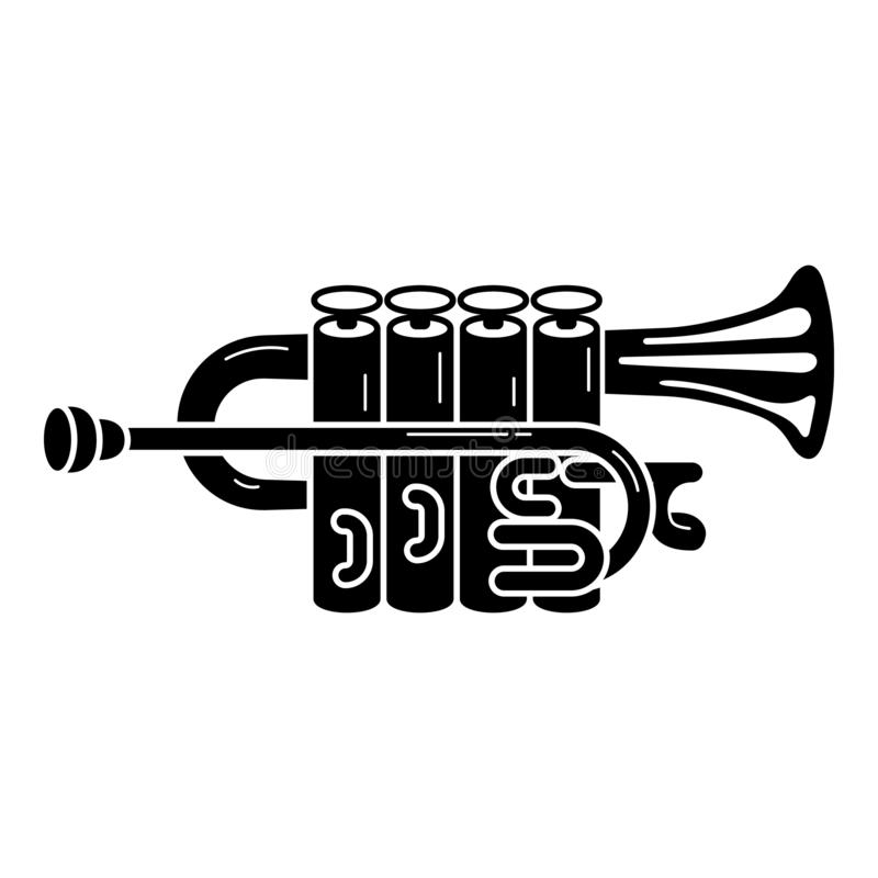 Metalltrumpetsymbol, enkel stil stock illustrationer