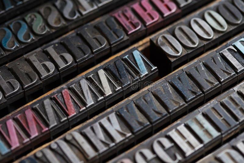 Metalltryckpressbokstäver royaltyfria bilder