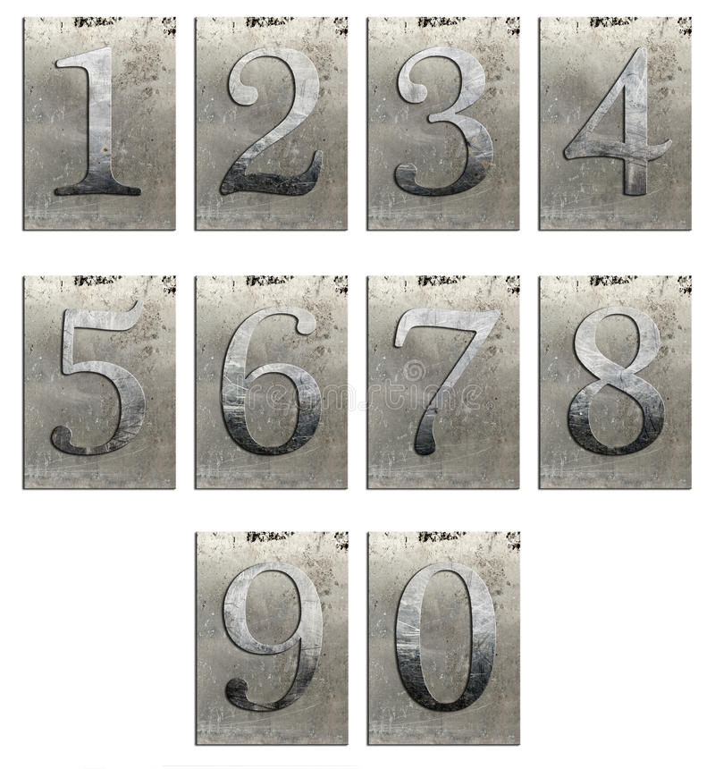 Metalltyp Zahlen getrennt stockbilder