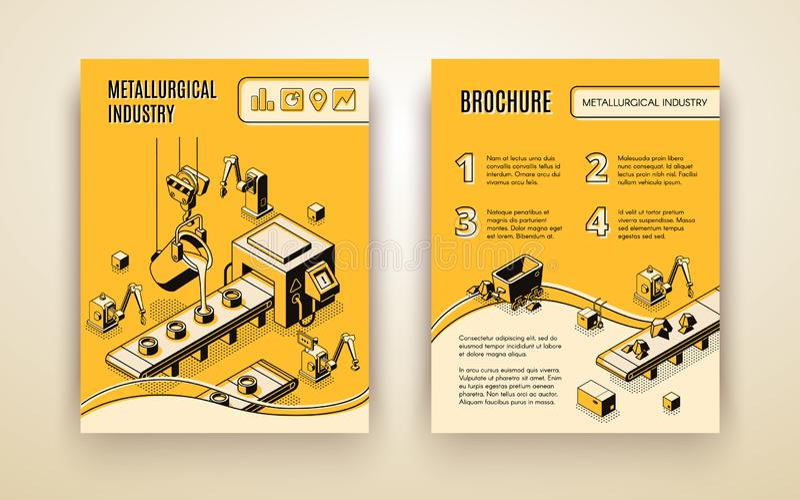 Metallurgical industry company vector brochure royalty free illustration
