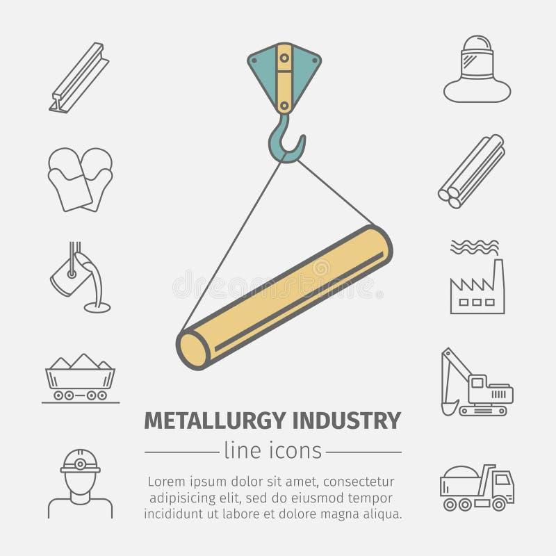 Metallurgie bezog sich Vektorlinie Ikonensatz Industrielles Plakat vektor abbildung