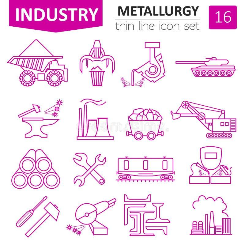 Metallurgy icon set. Thin line icon design stock illustration