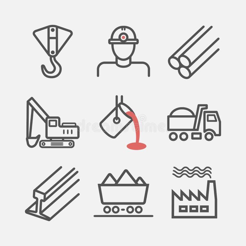 metallurgy Linha ?cones Sinais do vetor para gr?ficos da Web ilustração stock