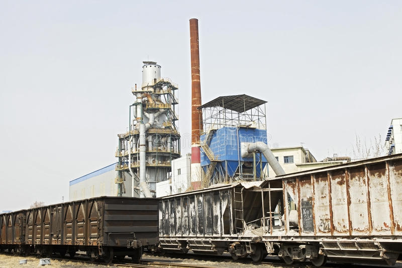 Metallurgy oven and trains royalty free stock photos