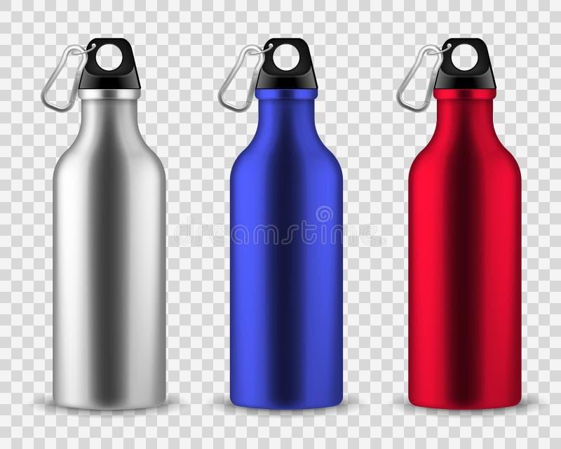 Metallvattenflaska Dricka uppsättningen för vektorn för sportar för aluminiumflaskakondition den realistiska rostfria, dricka åte vektor illustrationer