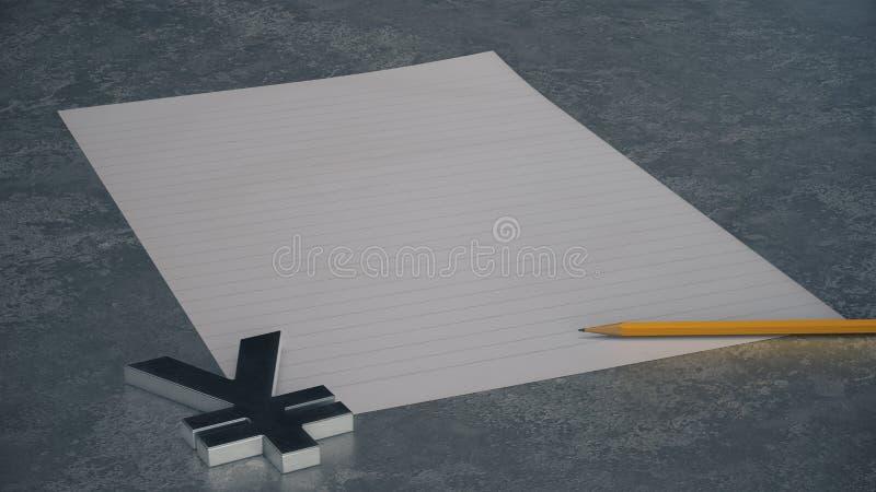 Metallyen-Währungszeichen mit Linie Papier und Bleistift auf konkretem Hintergrund stock abbildung