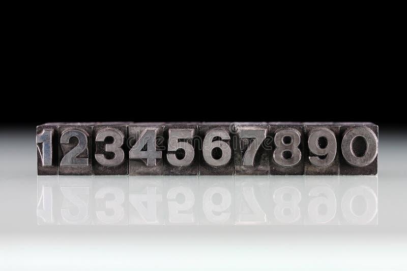 Metallzahlen 1234567890 stockfoto